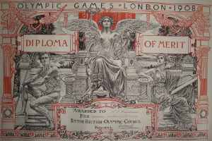 RO Backhouse's Diploma from the London Olympic Games 1908