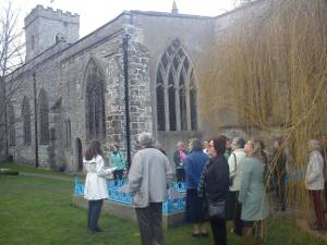 Group at Brookes Family Graves outside Church