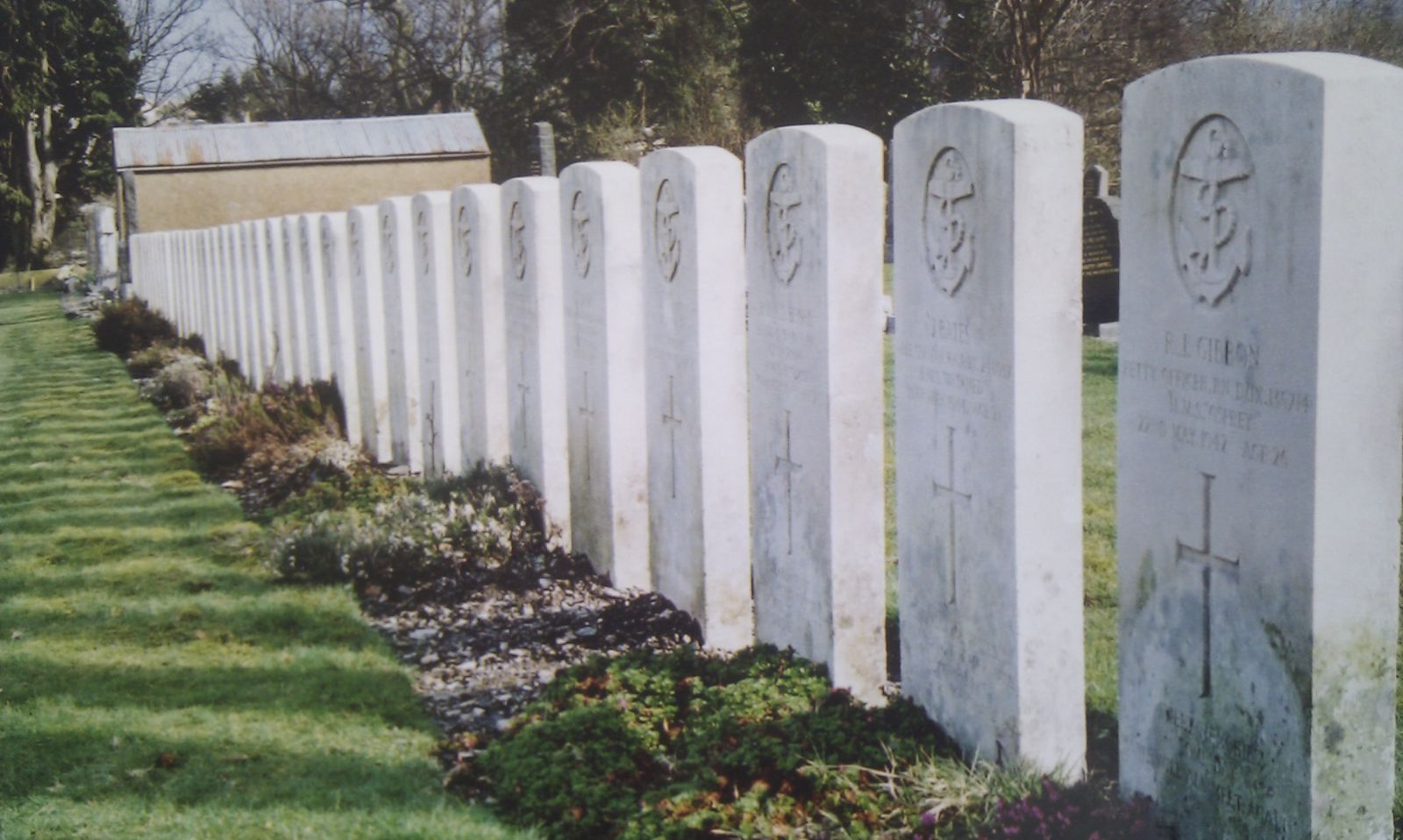 The graves of HMS Untamed's crew at Dunoon